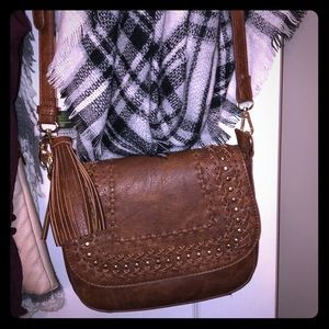 Cute brown crossbody fringe bag